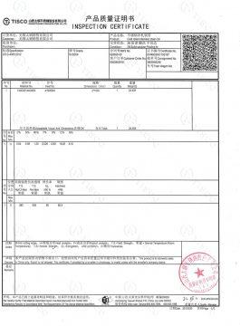 Certificat d'inspecció 304SS